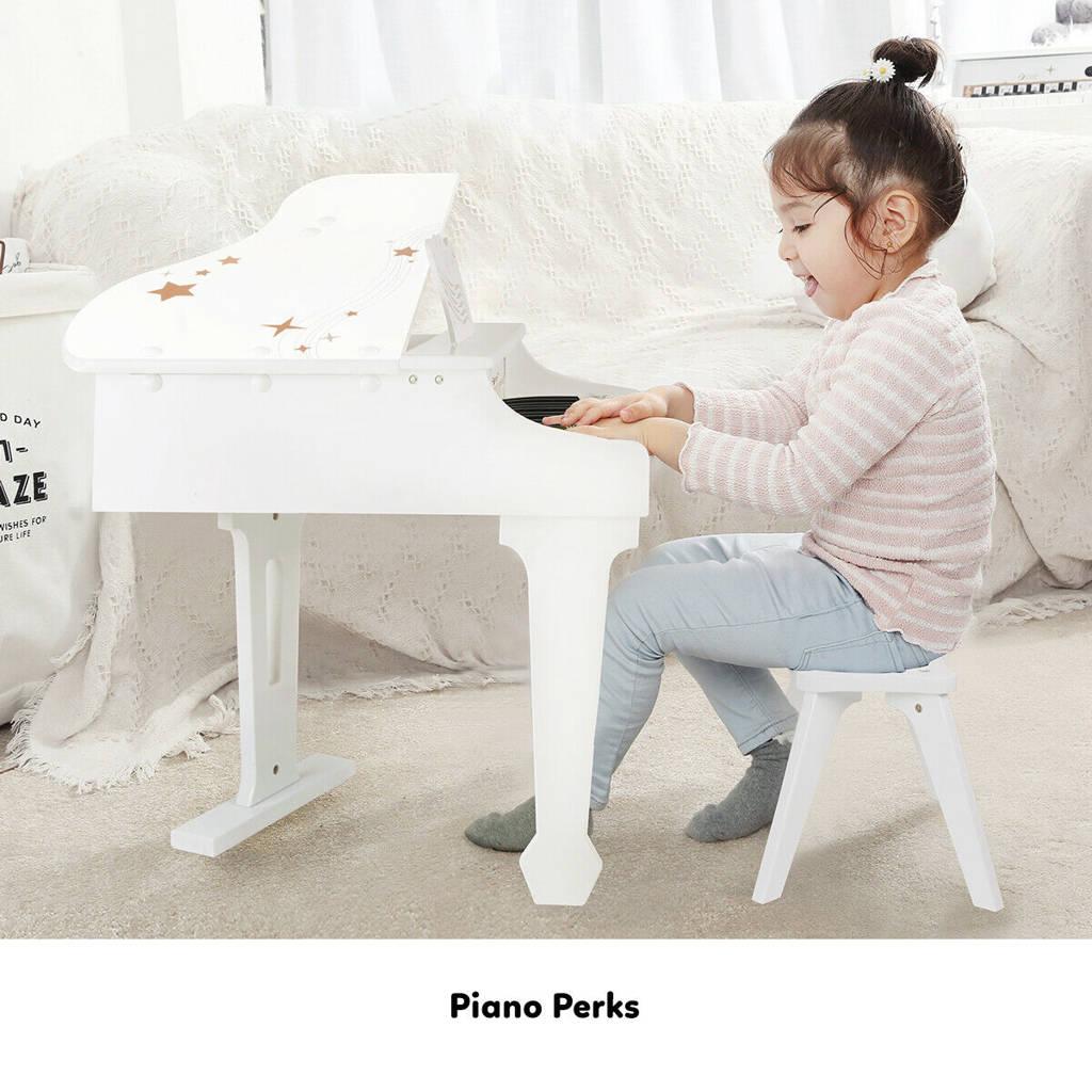 biały drewniany fortepian dla dzieci wondertoy